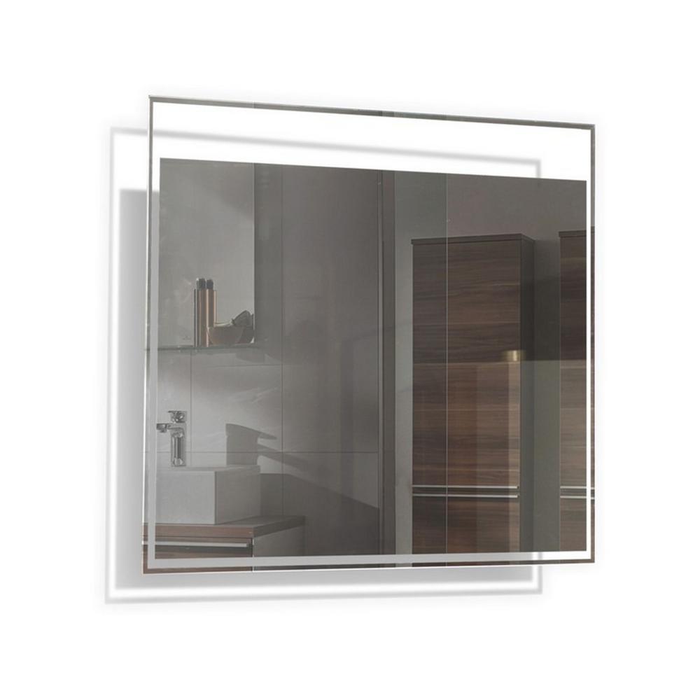 TONA 24 in. W x 24 in. H Frameless Square LED Light Bathroom Vanity Mirror in Clear