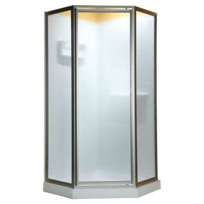 Prestige 24 in. x 68-1/2 in. Framed Neo-Angle Hinged Shower Door in Oil Rubbed Bronze with Clear Glass without handle