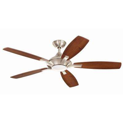Petersford 52 in. Integrated LED Indoor Brushed Nickel Ceiling Fan with Light Kit and Remote Control