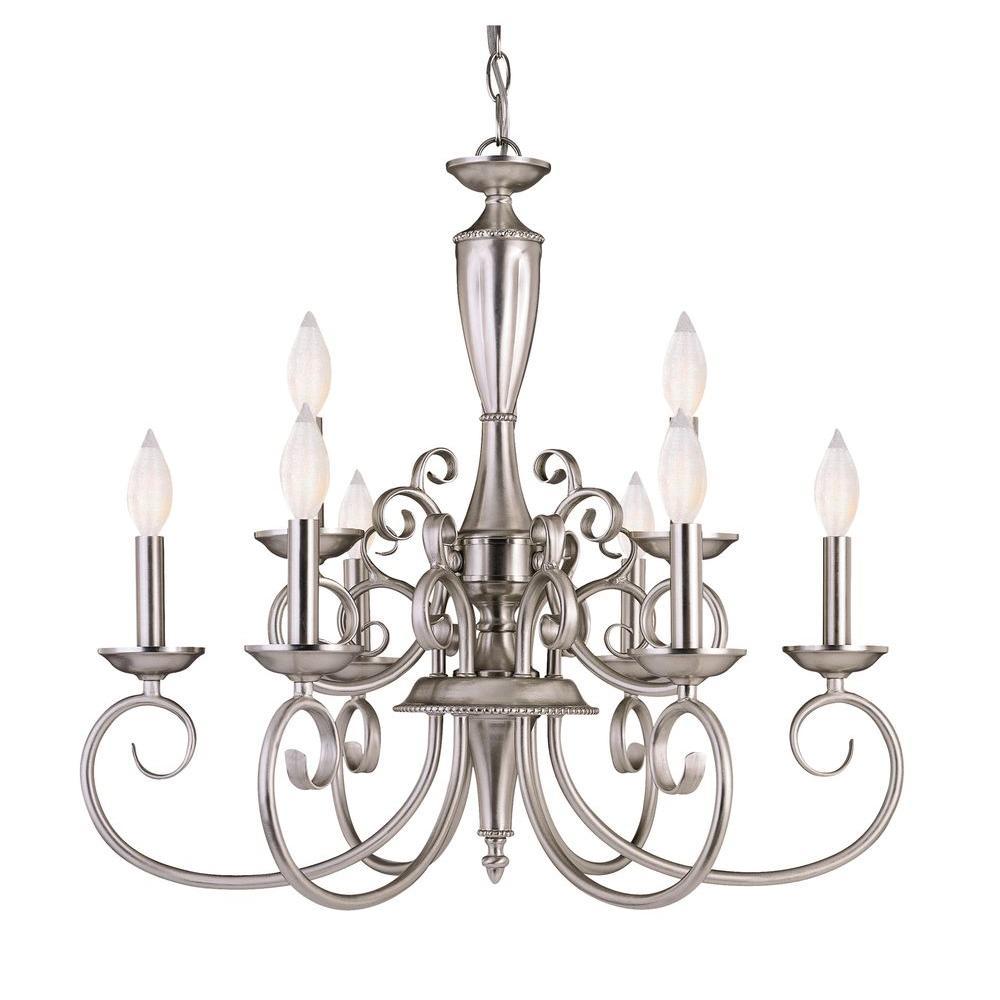 9-Light Silver Interior Chandelier
