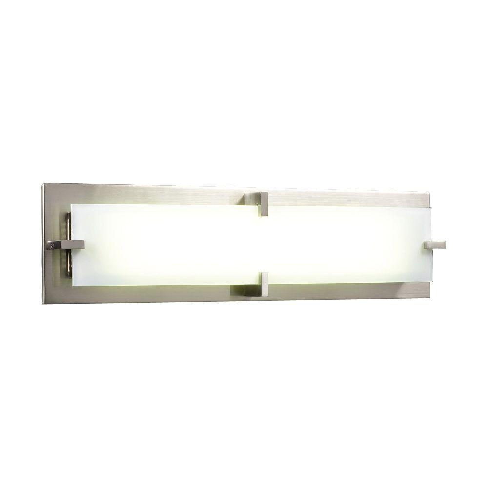 PLC Lighting 2 Light Bath Vanity Satin Nickel Finish Frost Glass