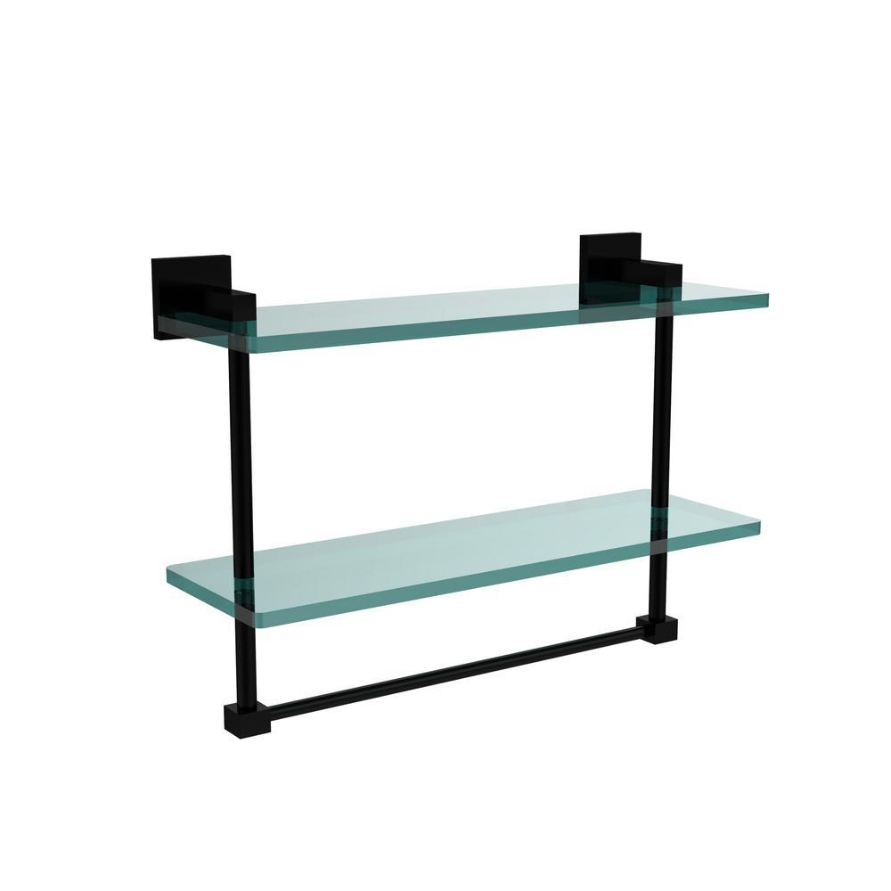 Montero 16 in. L  x 11-3/4 in. H  x 5-3/4 in. W 2-Tier Clear Glass Bathroom Shelf with Towel Bar in Matte Black