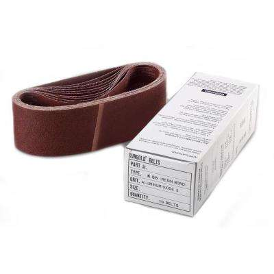 3 in. x 21 in. Aluminum Oxide 40-Grit X-Weight Cloth Portable Sanding Belts (10-Pack)