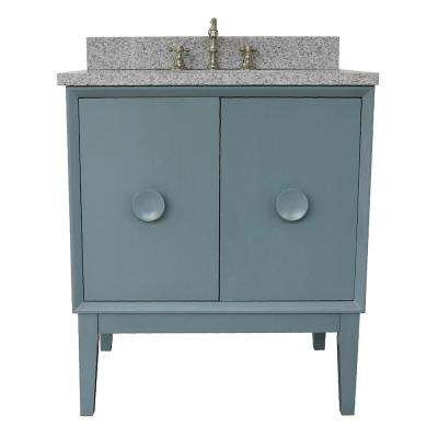 Stora 31 in. W x 22 in. D Bath Vanity in Aqua Blue with Granite Vanity Top in Gray with White Oval Basin