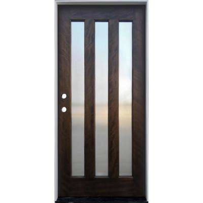 36 in. x 80 in. Espresso Mahogany Right-Hand Inswing 3-Lite with Reed Glass Prehung Front Door