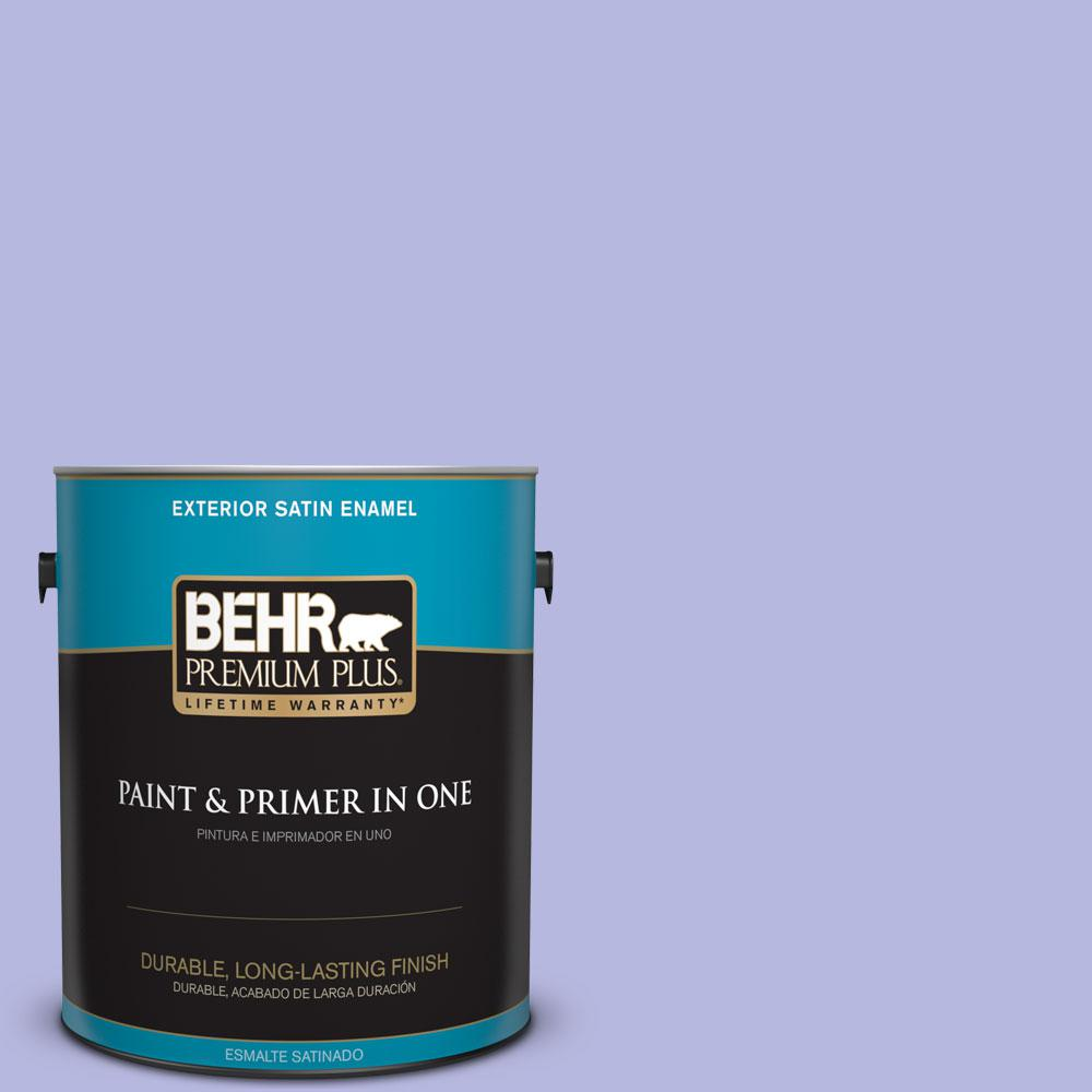 BEHR Premium Plus 1-gal. #P550-3 Lavender Cloud Satin Enamel Exterior Paint