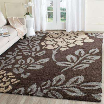 Florida Shag Dark Brown/Gray 8 ft. 6 in. x 12 ft. Area Rug