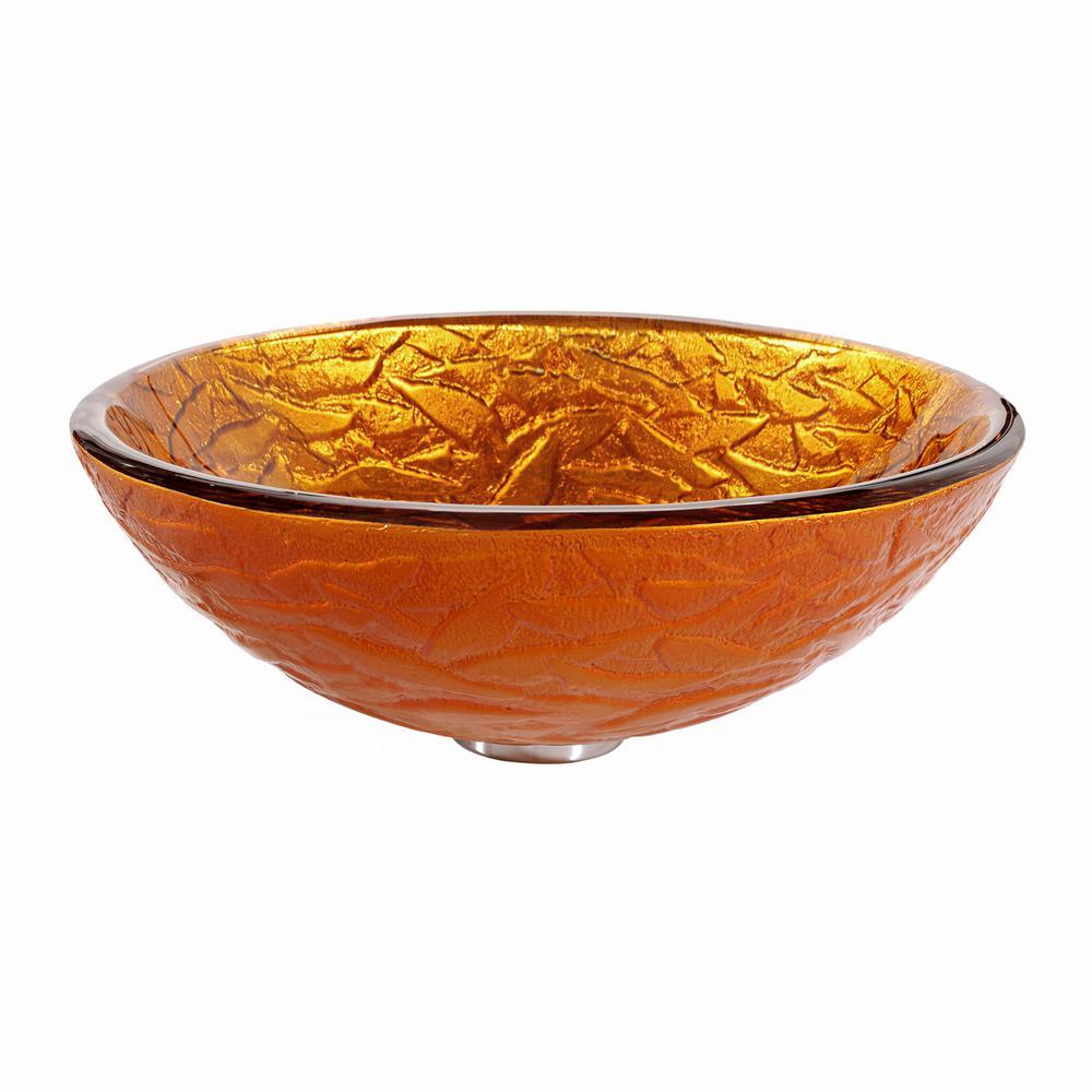 Blaze Glass Vessel Sink in Gold