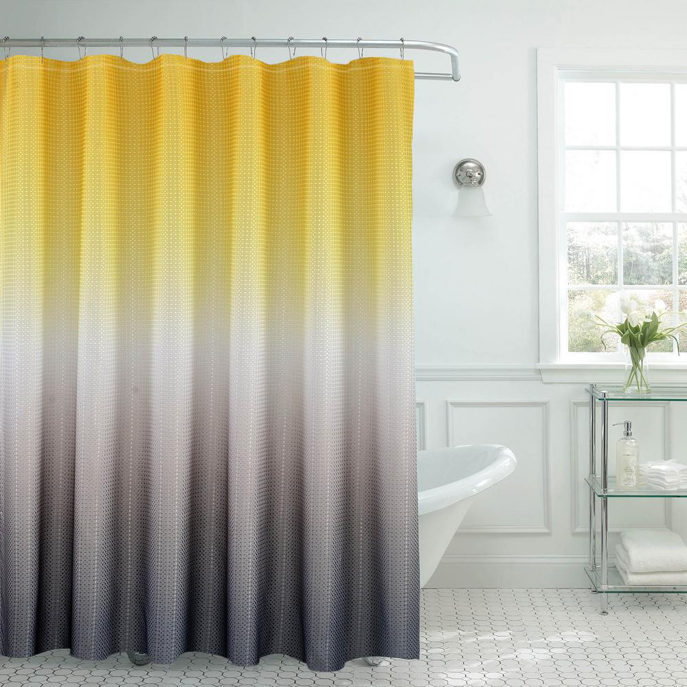 Ombre Waffle Weave 70 in. W x 72 in. L Yellow/Grey Shower Curtain ...