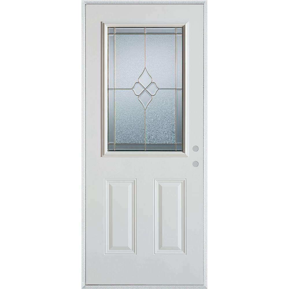 36 in. x 80 in. Geometric Zinc 1/2 Lite 2-Panel Painted White Left-Hand Inswing Steel Prehung Front Door