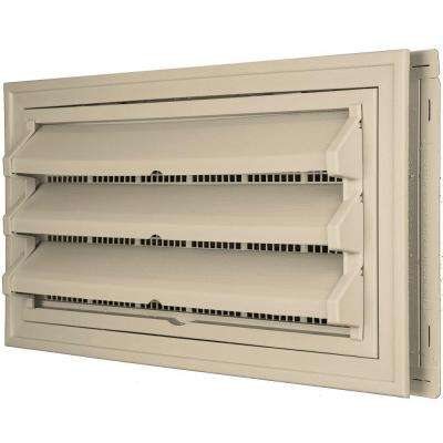 9-3/8 in. x 17-1/2 in. Foundation Vent Kit with Trim Ring and Optional Fixed Louvers (Galvanized Screen) #011 Sandalwood