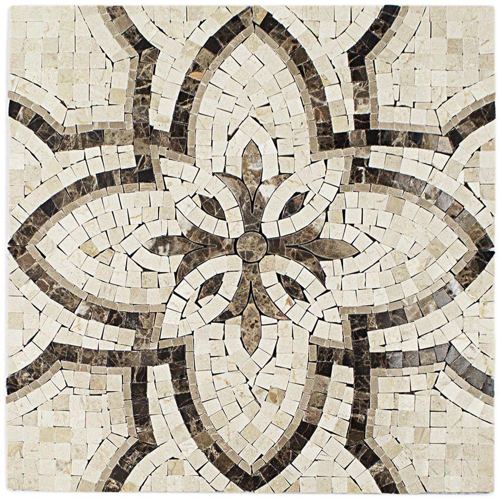 Splashback Tile Garden Crema Marfil and Dark Emperador Marble ...