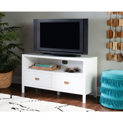 Greenville 44 in. White Wood TV Stand with 2 Drawer Fits TVs Up to 50 in. with Cable Management