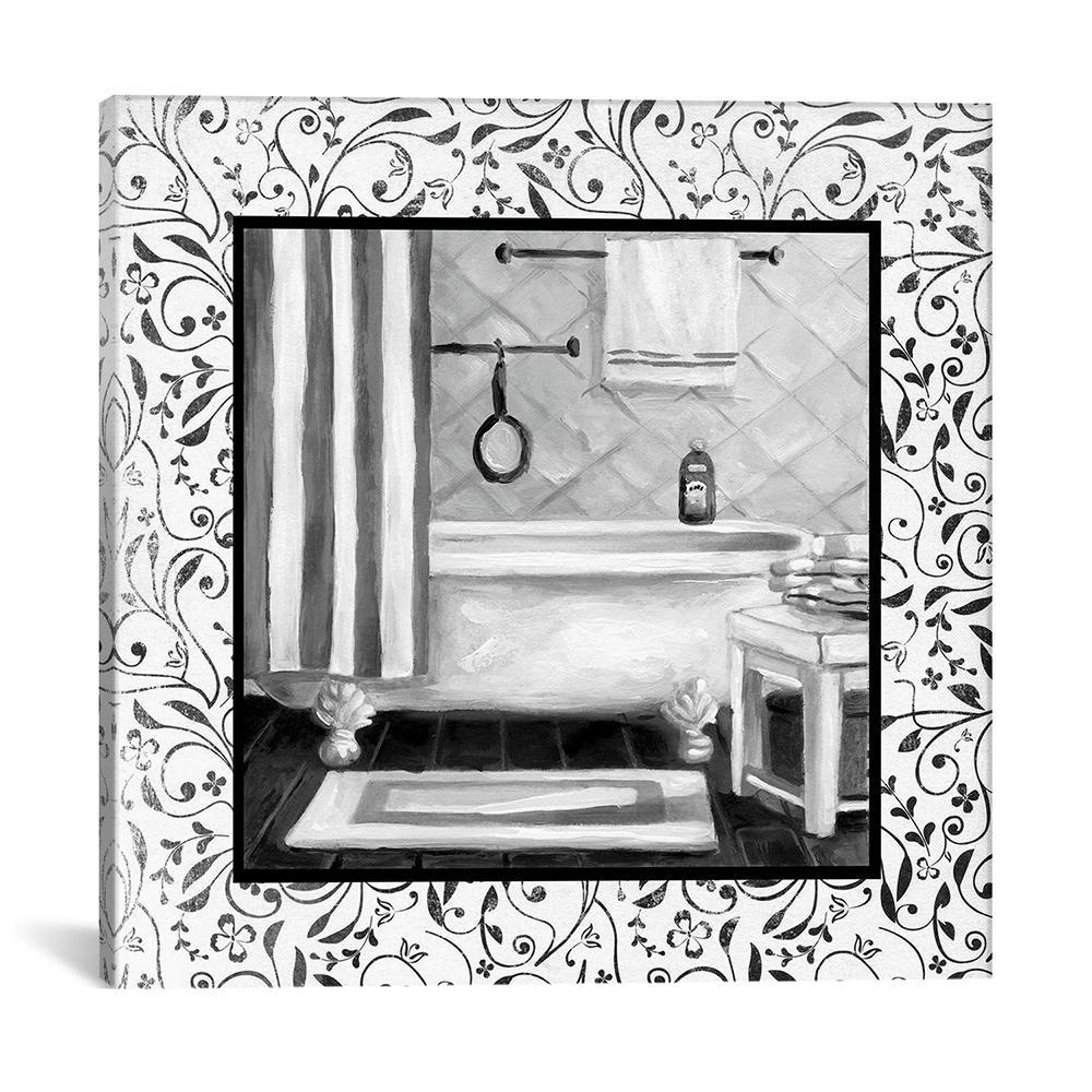 """""""Black And White Bath I"""" by Carol Robinson Canvas Wall Art"""