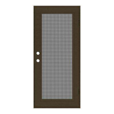 30 in. x 80 in. Full View Royal Brown Right-Hand Surface Mount Security Door with Meshtec Screen