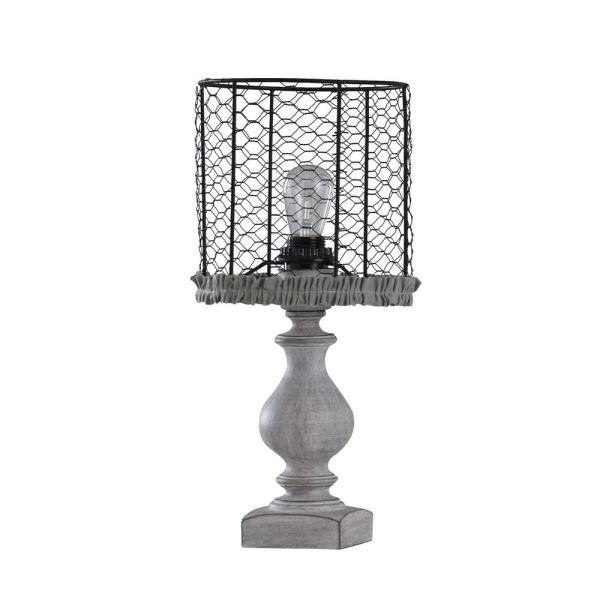Table Lamp With Black Metal Drum Shade