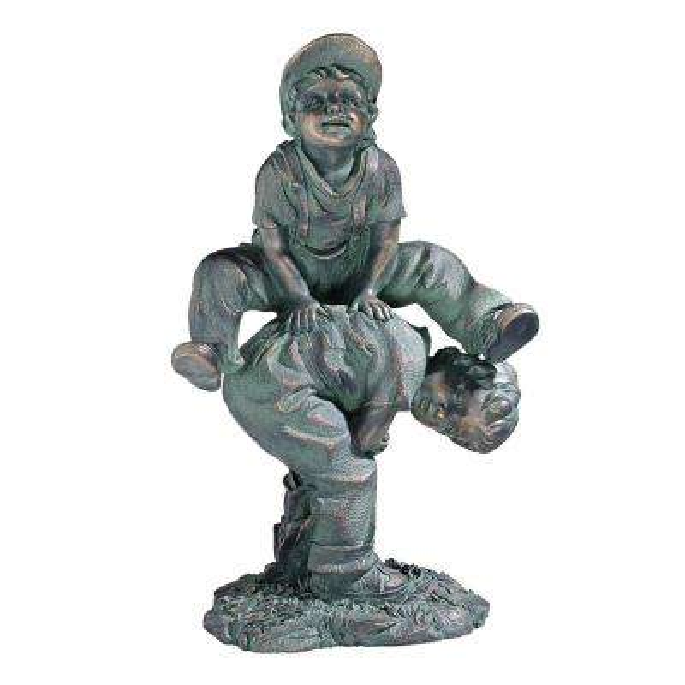16 in. H Leap Froggin Playing Boys Garden Statue