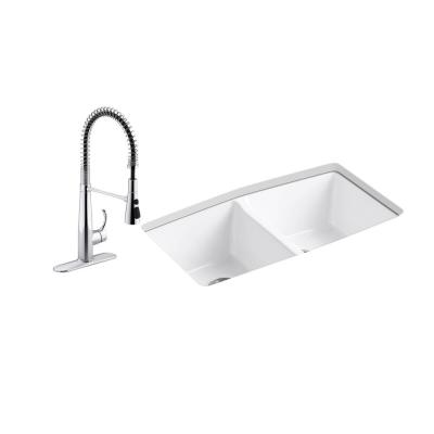 Brookfield All-in-One Undermount Cast Iron 33 in. Double Bowl Kitchen Sink in White with Simplice Kitchen Faucet