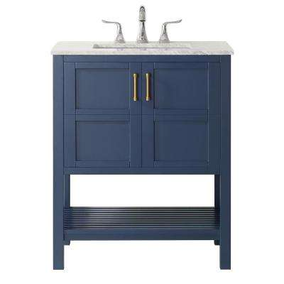 """Florence 30"""" Vanity in RoyalBlue with Carrara White Marble Countertop Without Mirror"""