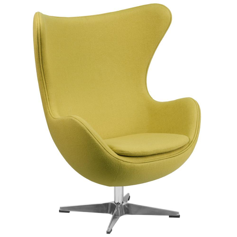 Citron Wool Green Yellow Fabric Egg Chair with Tilt-Lock Mechanism