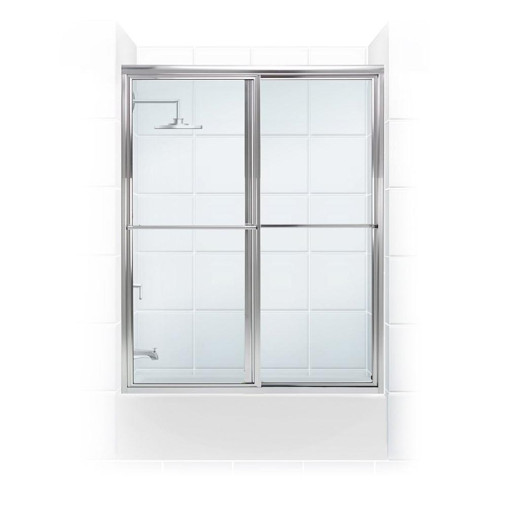 Coastal Shower Doors Newport Series 54 in. x 55 in. Framed Sliding Tub Door with Towel Bar in Chrome with Clear Glass