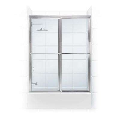 Newport Series 54 in. x 55 in. Framed Sliding Tub Door with Towel Bar in Chrome with Clear Glass