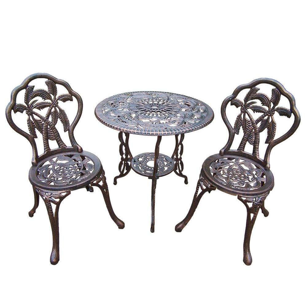 Oakland Living Palm 3-Piece Patio Bistro Set