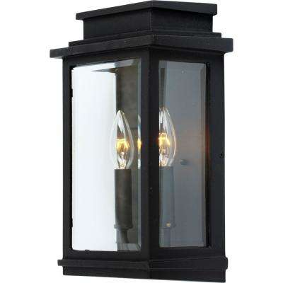 2-Light Black Outdoor Wall Mount Sconce