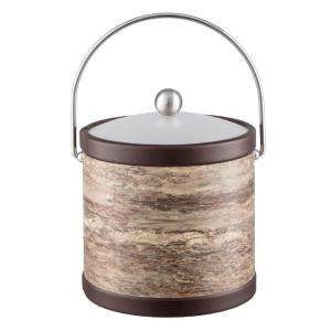 Quarry Brown Stone 3 Qt. Ice Bucket with Bale Handle and Acrylic Lid