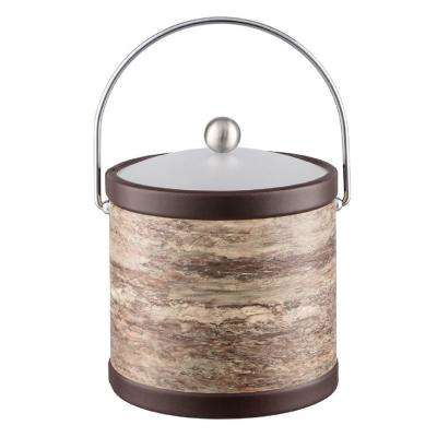Brown Stone 3 Qt. Brown Ice Bucket with Bale Handle and Acrylic Lid