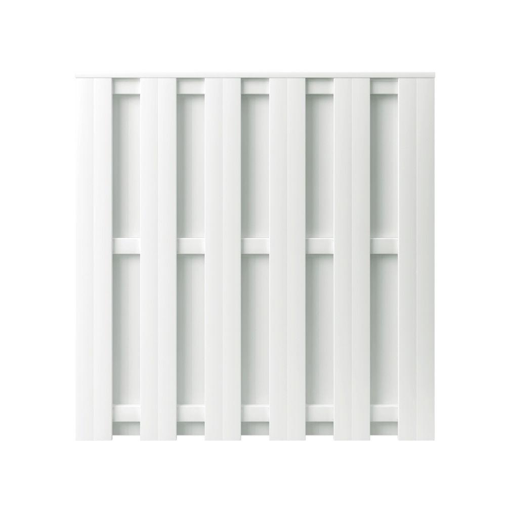 Palatine 6 ft. H x 6 ft. W White Vinyl Shadowbox Fence Panel - Unassembled