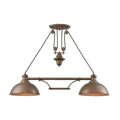 Farmhouse 2-Light Tarnished Brass Pulldown Billiard Light