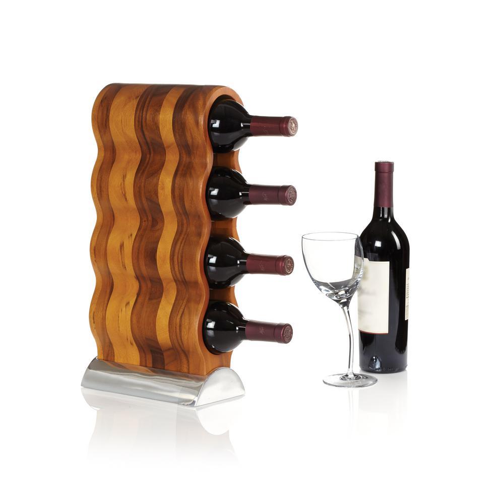 Nambe Curvo 4 Bottle Wood And Alloy