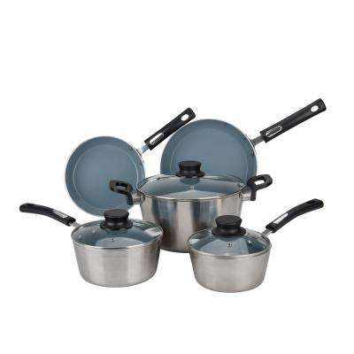 8-Piece Silver Cookware Set with Lids