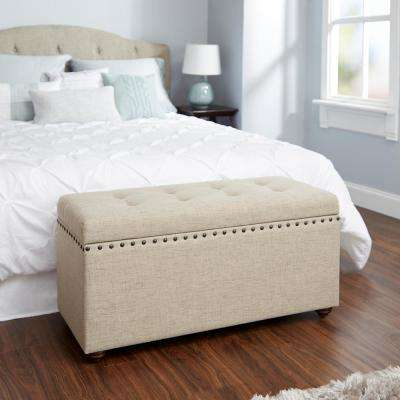 Penelope Nail Head Beige Storage Bench