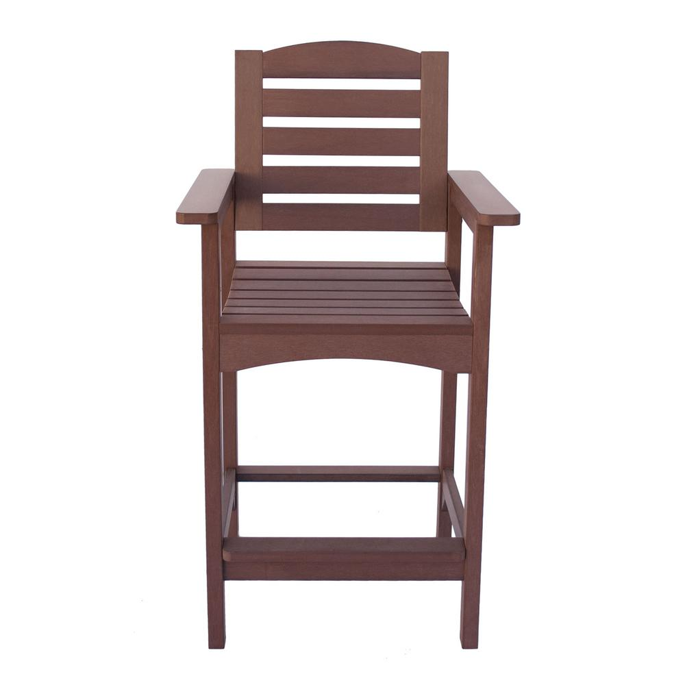Shine Company Counter High Plastic Outdoor Bar Stool in Chateau Brown