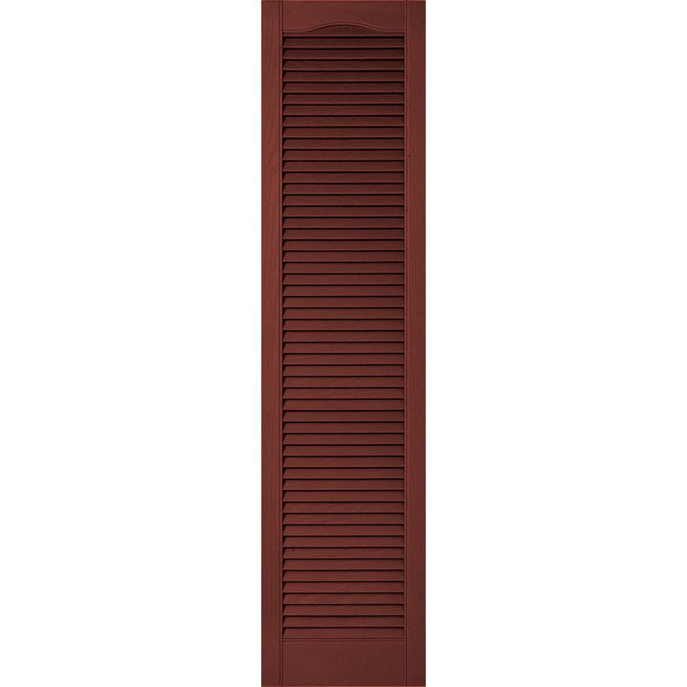 Ekena Millwork 18 In X 58 In Lifetime Vinyl Custom Cathedral Top All Open Louvered Shutters Pair Burgundy Red Ll5c18x05800rd The Home Depot