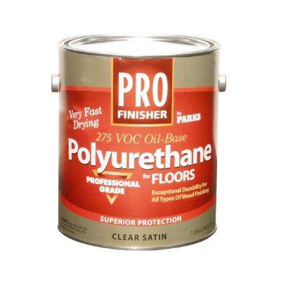 1 gal. Clear Satin 275 VOC Oil-Based Polyurethane for Floors (Case of 4)