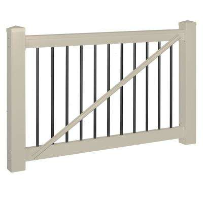 Bellaire 3.5 ft. H x 60 in. W Khaki Vinyl with Round Black Aluminum Spindles Gate Railing Kit