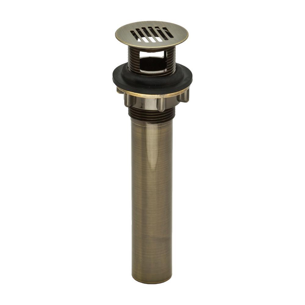 PF WaterWorks DecoDRAIN Grid Strainer Drain for Bathroom Vanity/Lavatory/Vessel/Sink, Body with Overflow,  Antique Brass