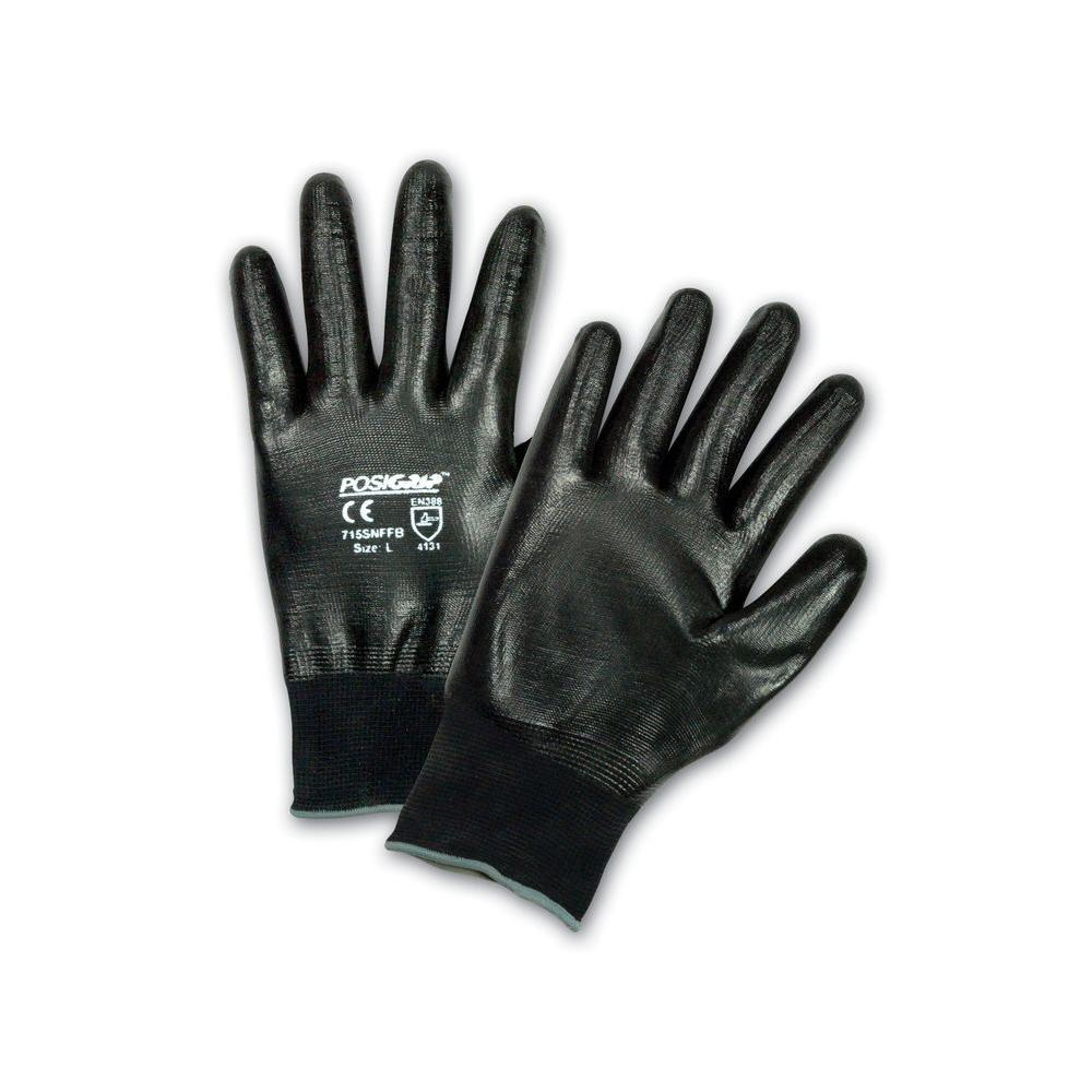 Black Flat Nitrile Full Dip Gloves - Dozen Pair