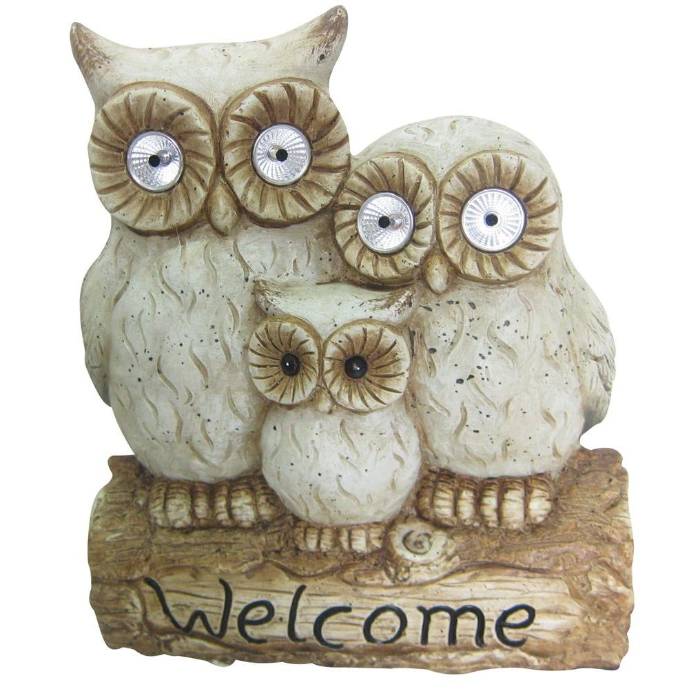 Solar Owl Family Welcome Statue