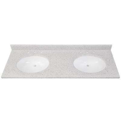 61 in. W x 22 in. D Solid Surface Double Basin Vanity Top in Silver Ash with White Basins
