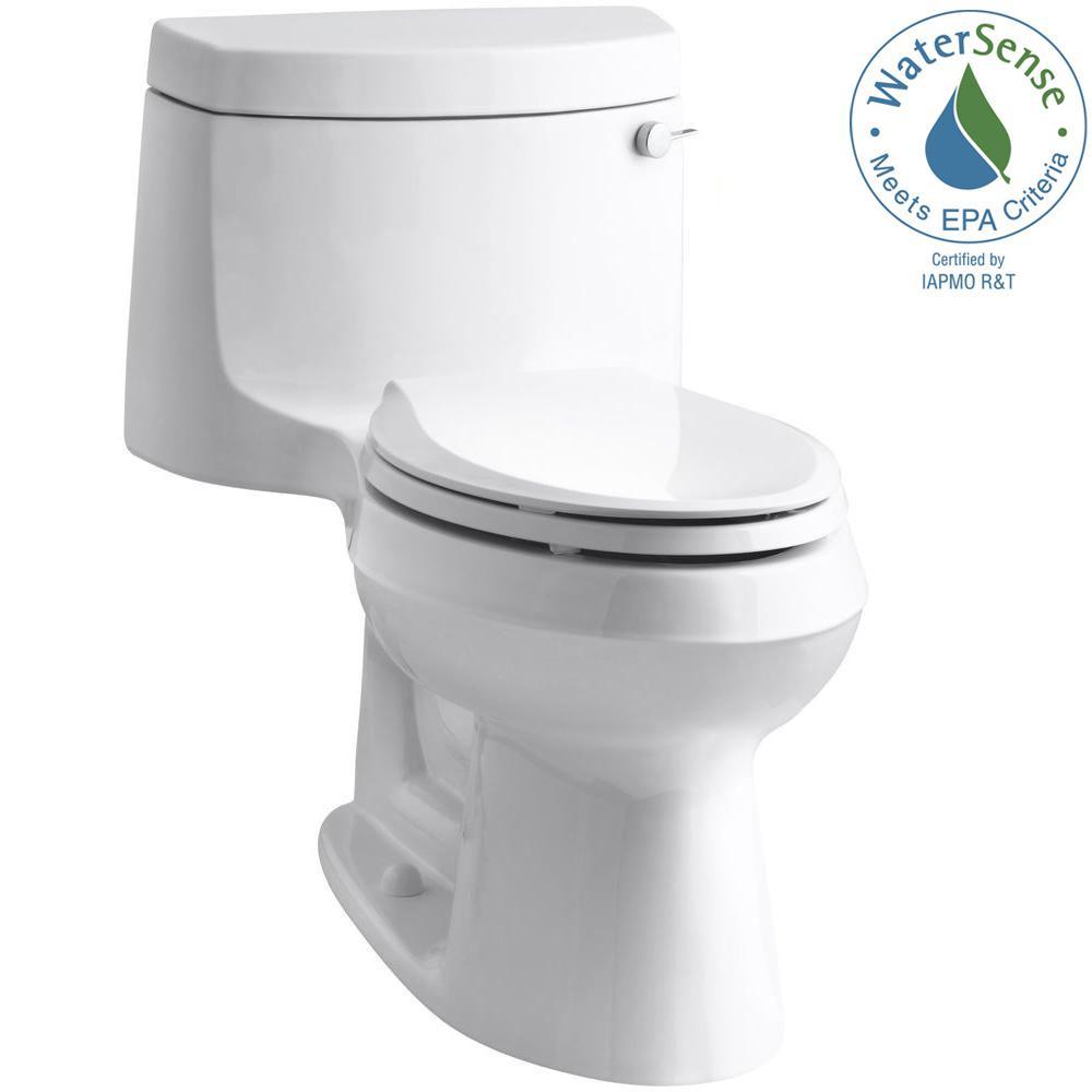 Cimarron 1-Piece 1.28 GPF Single Flush Elongated Toilet with AquaPiston Flush Technology in White