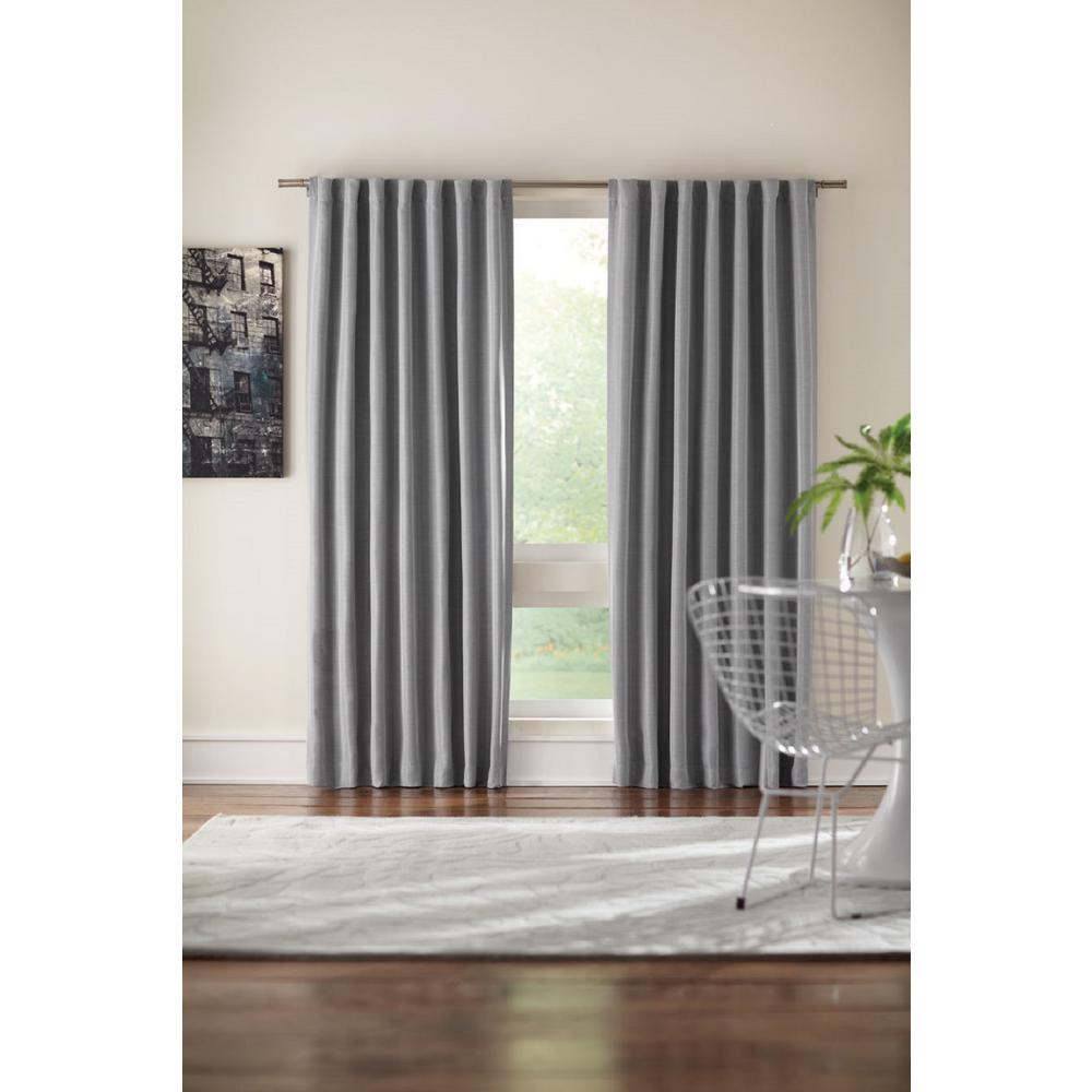 Semi-Opaque Grey Velvet Lined Back Tab Curtain - 50 in. W