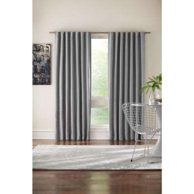 Semi-Opaque Grey Velvet Lined Back Tab Curtain - 50 in. W x 95 in. L