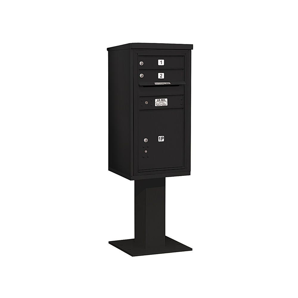 3400 Series Black Mount 4C Pedestal Mailbox with 2 MB1 Doors/1
