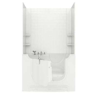 Nova Wheelchair Access 5 ft. Walk-in Whirlpool and Air Bathtub with 4 in. Tile Easy Up Adhesive Wall Surround in White