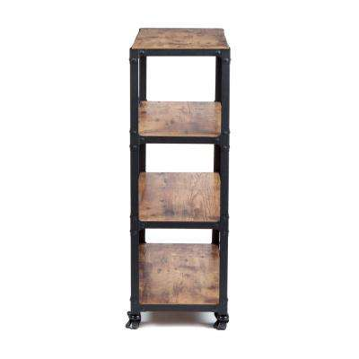 39 in. x 18 in. x 12 in. 4-Tier Metal with Wood Mobile Utility Cart Black