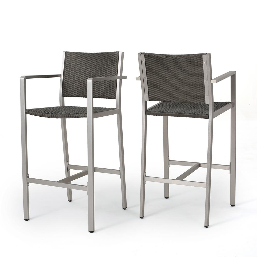 NobleHouse Noble House Cape Coral Wicker Outdoor Bar Stool (2-Pack)